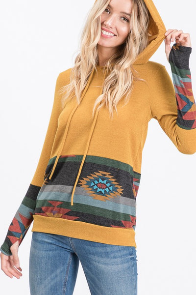 Mustard Aztec Hooded Sweatshirt