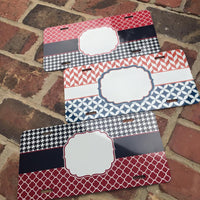 License plate- Black Houndstooth w/Red Quatrefoil
