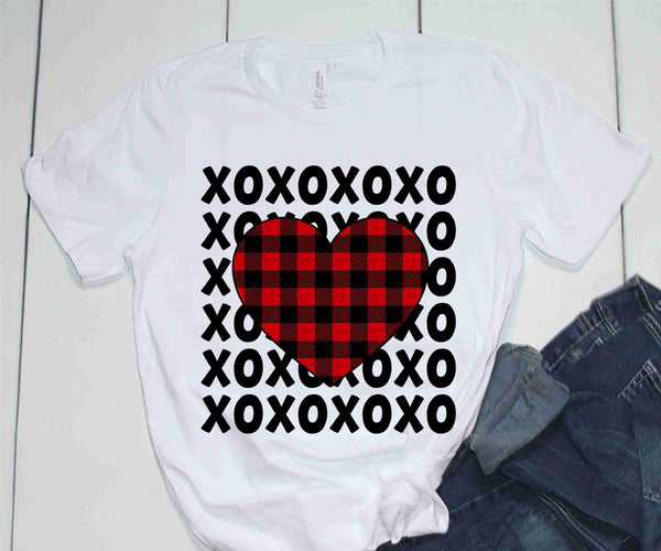 Buffalo Plaid Heart XO - Transfer