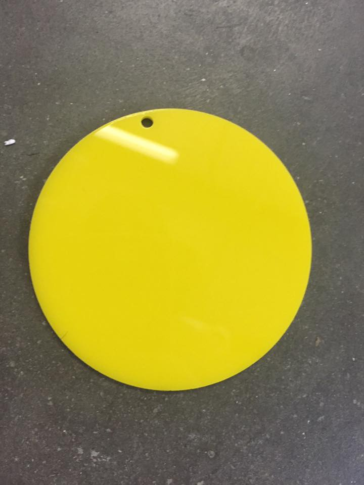 Acrylic YELLOW 3in Circle Keychains