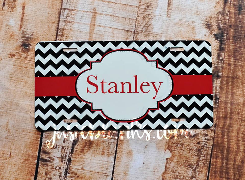 License plate-- Black Chevron w/red