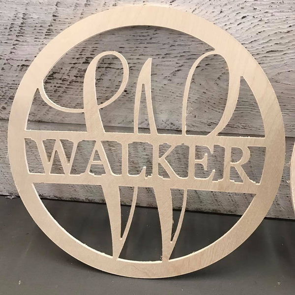 Wood -  Last Name Circle Design