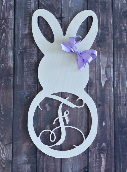 Wood -  Easter Bunny with circle letter