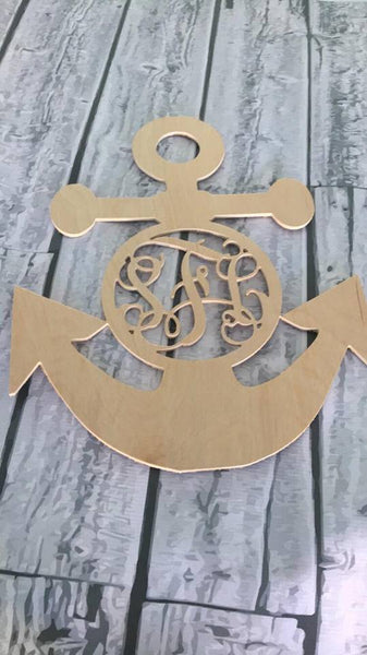 Wood - Monogrammed Anchor