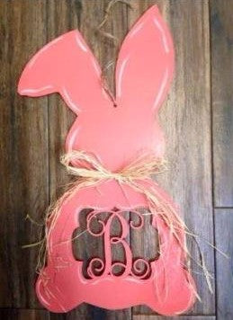 Wood -  Easter Bunny with monogram