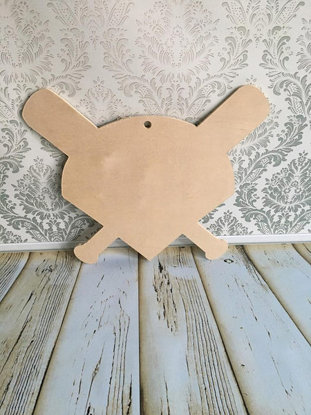 Wood -  Home plate/bat  door hanger