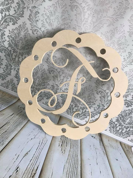 Wood -  scalloped burlap door hanger