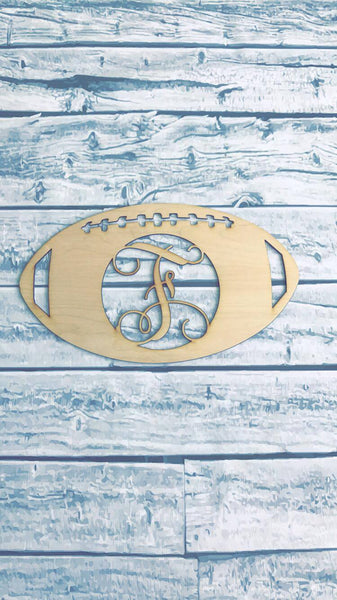FootBall Monogram Wood Door Hanger