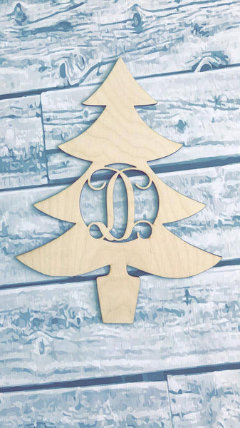 Christmas Tree Monogram Door Hanger