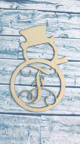 Snow Man Monogram Wood Door Hanger