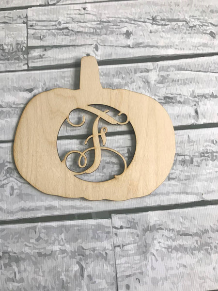 Pumpkin Monogrammed Wood Door Hanger