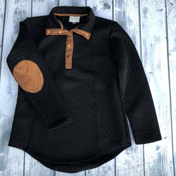 Quilted Pullover - Black with Mocha