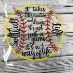 Softball Life Yellow Circle Transfer