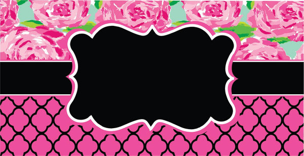 License plate- 47 Lilly with Pink/ Black Quatrefoil