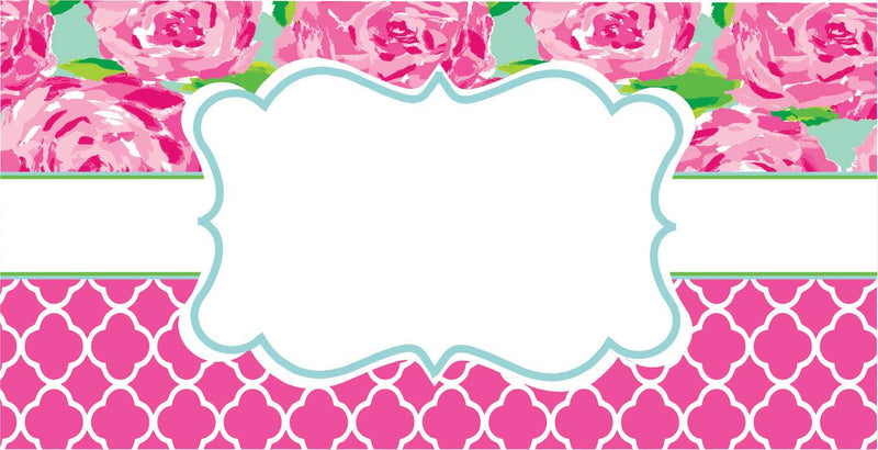 License plate- 47 Lilly with Pink/white quatrefoil