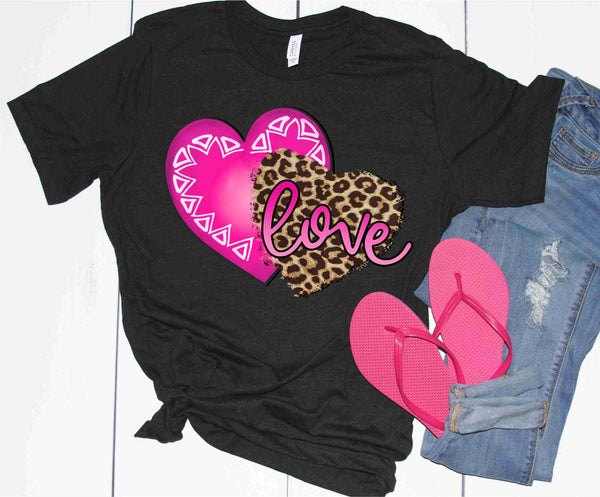 Love Hearts: Leopard and Hot Pink - Transfer