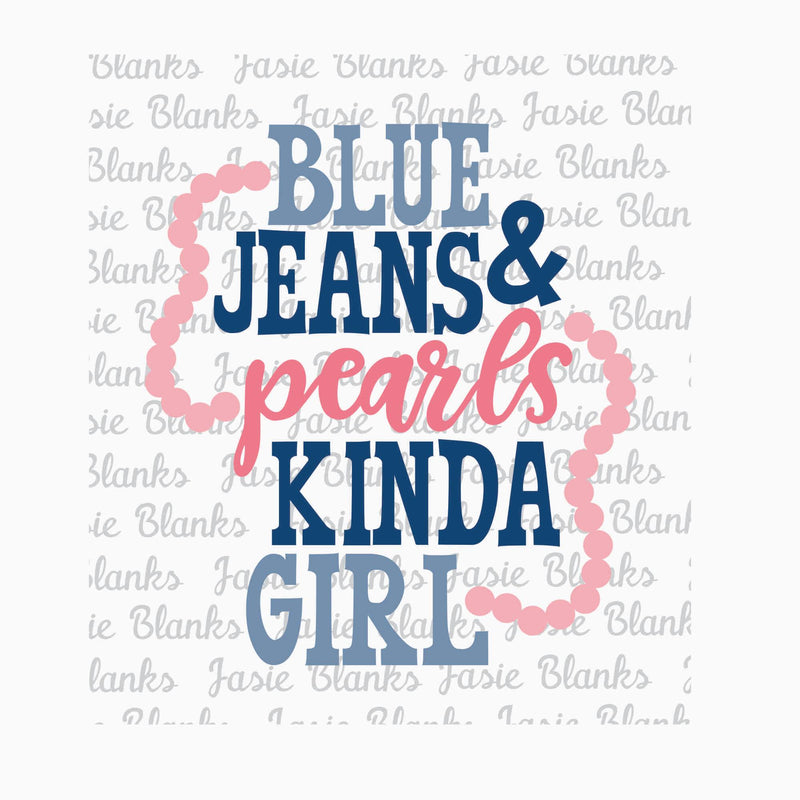 Blue Jean and Pearls-  Transfer