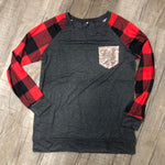 Buffalo Plaid Long sleeve with glitter pocket