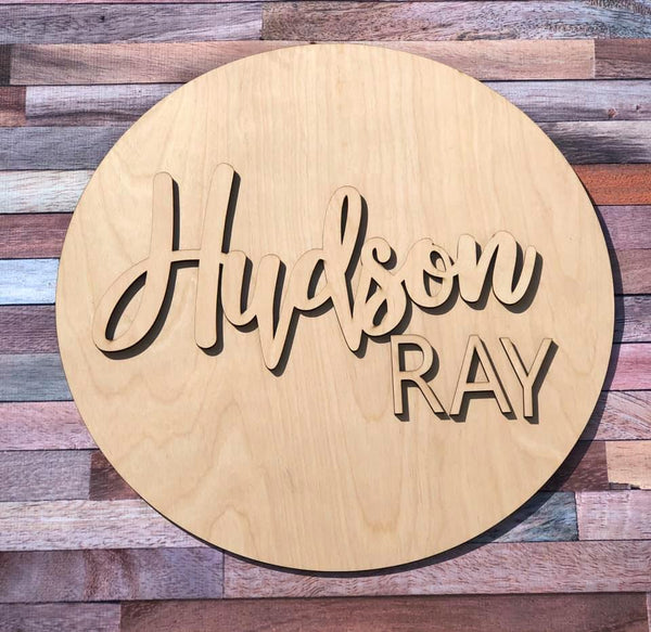 3D Custom Wood Name Round