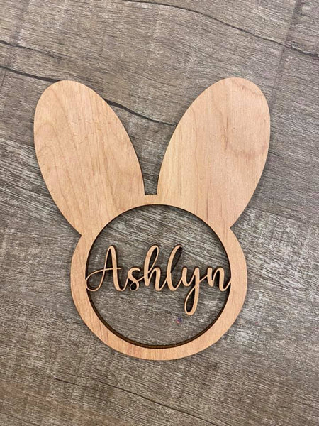 Bunny with name- Wood Cut out 6in