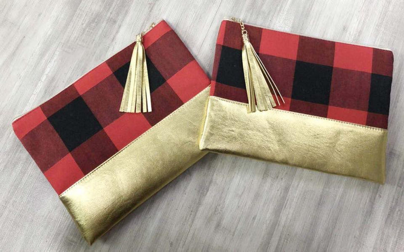 Cosmetic Bag- Buffalo plaid w/GOLD bottom