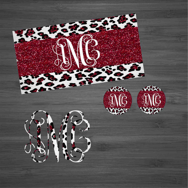 Burgundy Glitter Leopard Car Kit