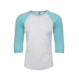 Unisex Raglan - Heather White/Tahiti Blue