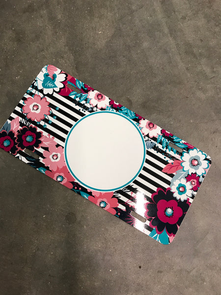 License plate- Stripe/floral teal circle frame