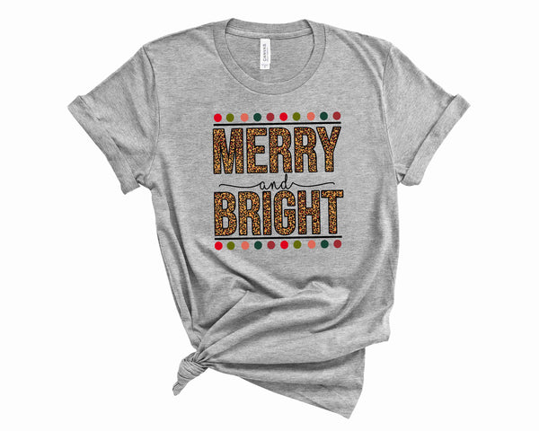 Merry & Bright Leopard - Graphic Tee