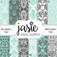 Mint & Dark Grey Damask Printed Vinyl