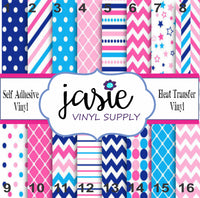 Nautical Blue & Pink Printed Vinyl