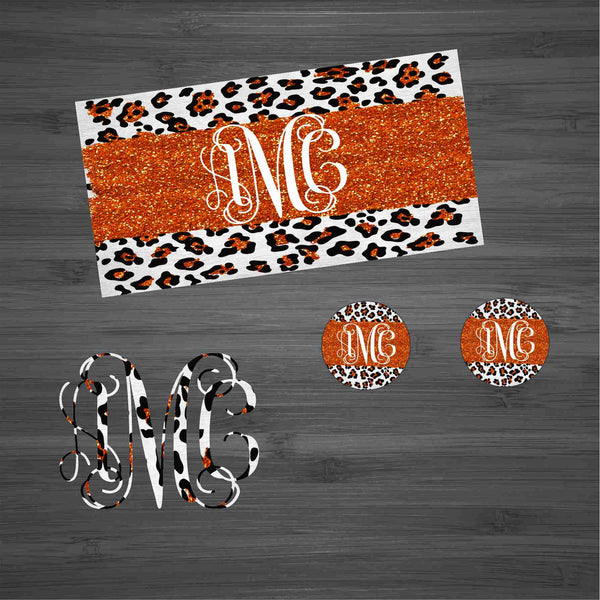 Orange Glitter Leopard Car Kit