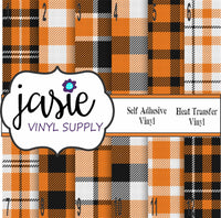 Orange Plaid Printed Vinyl