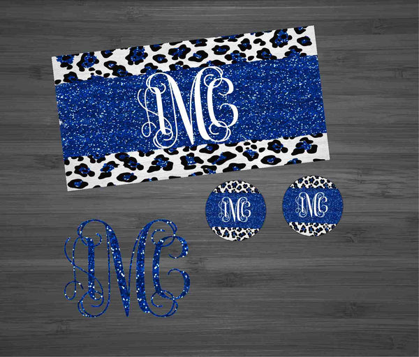 Royal Blue Glitter Leopard Car Kit