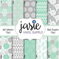 Shabby Chic Mint & Grey Printed Vinyl