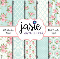 Shabby Chic Pink & Blue Printed Vinyl
