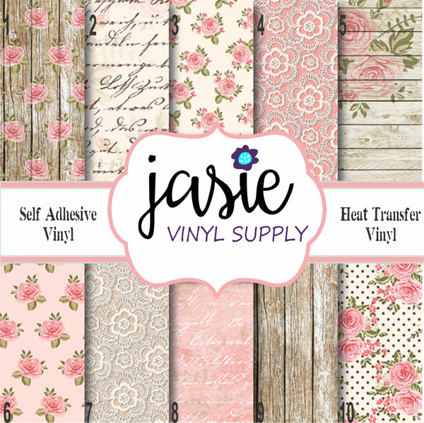 Shabby Chic Wood Lace Printed Vinyl
