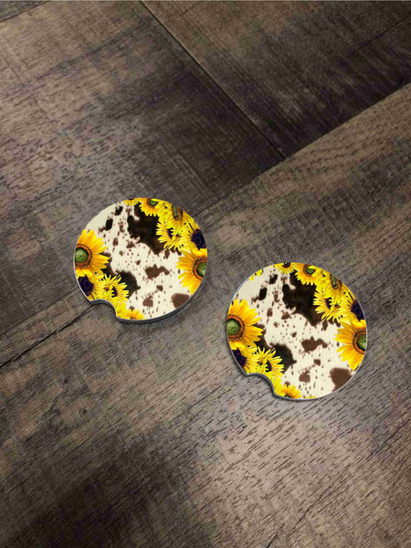 Car Coasters - Cow/Sunflower Print