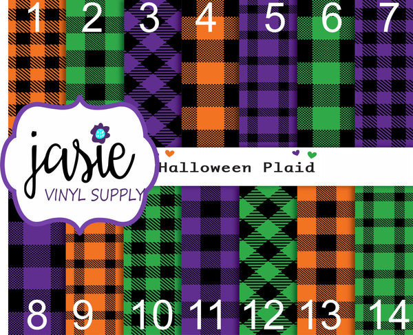 Halloween Plaid Printed Vinyl