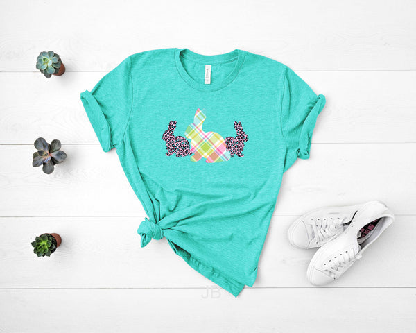Easter Bunnies Plaid Pink/Teal Leopard - Transfer