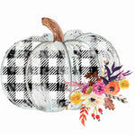 Pumpkin Floral Black/white plaid- Transfer Only