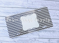 License Plate-Black Chevron Print