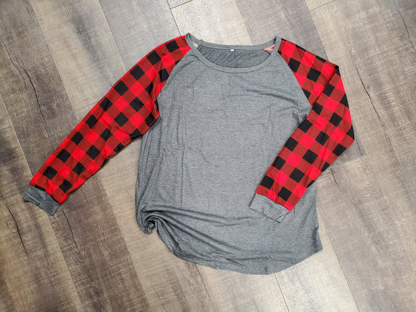 Buffalo Plaid Sleeve Tunic