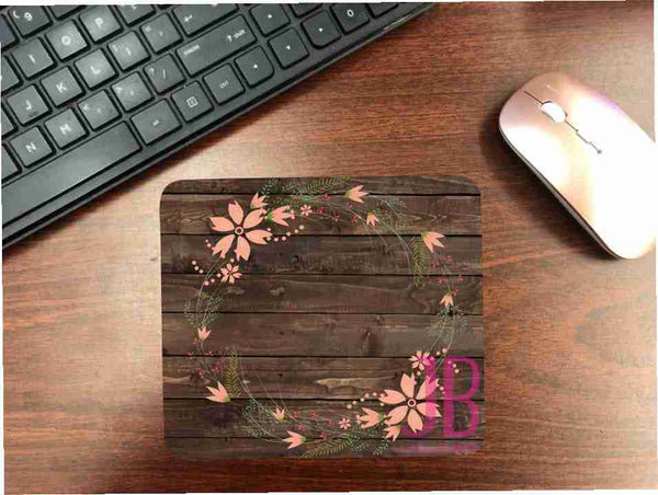 Dark Wood And Floral Wreath Mouse Pad