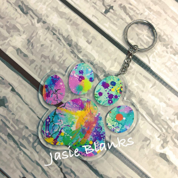 Acrylic DOG PAW Key chain