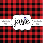 Buffalo Plaid Printed Vinyl - Red/Black
