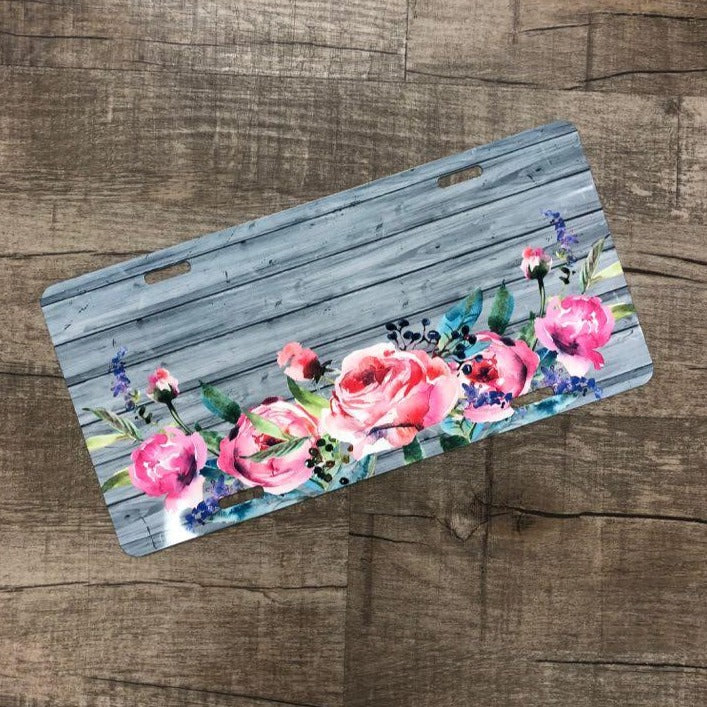 Wood/ Flower License Plate