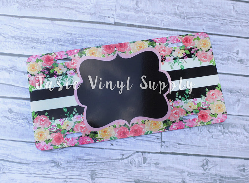 License Plate-Water Color Floral Stripe