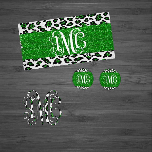 Green Glitter Leopard  Car Kit