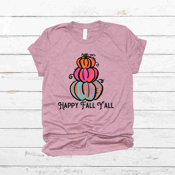 happy Fall Yall Colorful Stacked Pumpkins Shirt--Light Pink